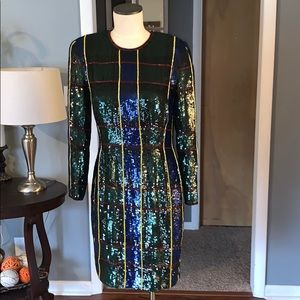 VTG Escada couture  Tartan plaid sequin dress